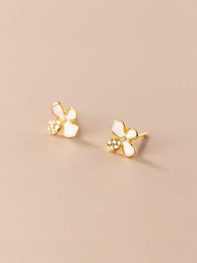 925 Sterling Silver Shell Flower Minimalist Stud Earring