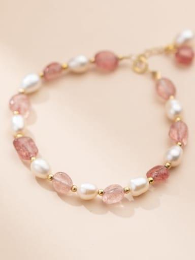 925 Sterling Silver Freshwater Pearl Geometric Cute Stretch Bracelet