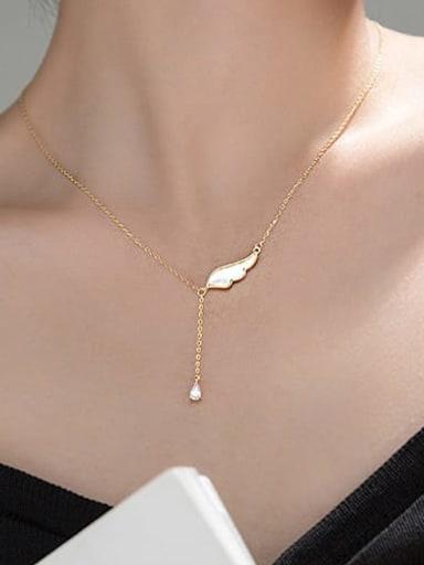 Titanium Steel Angel Minimalist Lariat Necklace
