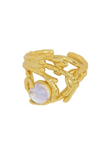18K gold [14 adjustable] 925 Sterling Silver Cubic Zirconia Irregular Ethnic Stackable Ring