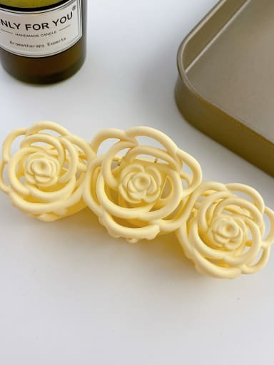 Off white 10.8cm Alloy Resin Trend Hollow Flower  Jaw Hair Claw