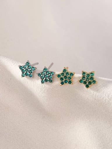 Green zirconium 925 Sterling Silver Rhinestone Star Minimalist Stud Earring