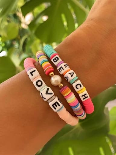 Package price ro s200265 Stainless steel Multi Color Polymer Clay Geometric Bohemia Stretch Bracelet