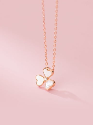 rose gold 925 Sterling Silver Shell Flower Minimalist Necklace