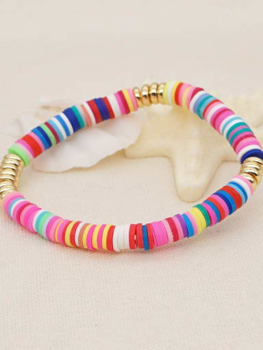 QT B200165A Stainless steel Multi Color Polymer Clay Geometric Bohemia Stretch Bracelet