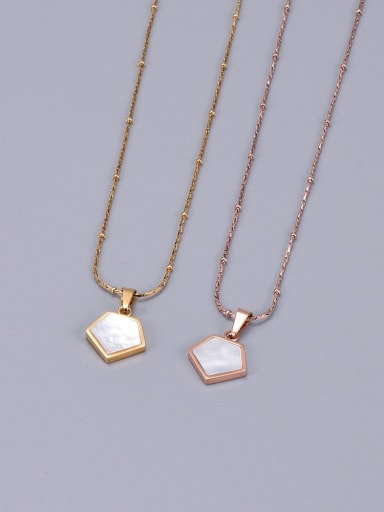 Titanium White Shell geometry Necklace
