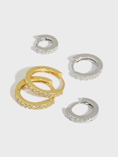 925 Sterling Silver Cubic Zirconia Round Minimalist Huggie Earring