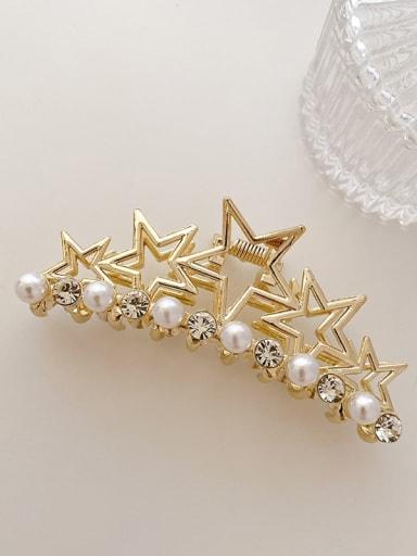 Five star Pearl Rhinestone 9.2cm Alloy Imitation Pearl Minimalist Geometric  Jaw Hair Claw