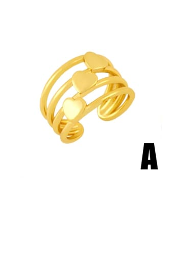 A Brass Cubic Zirconia Letter Vintage Midi Ring