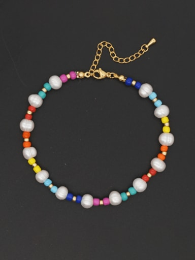 Stainless steel Geometric Bohemia  Freshwater Pearl Multi Color Anklet