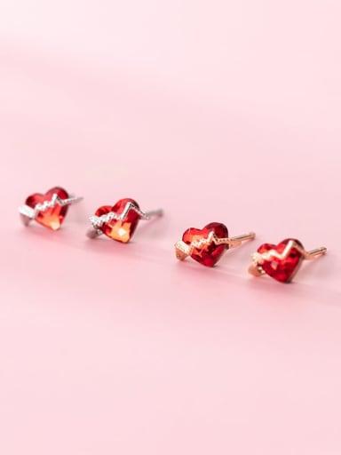 925 Sterling Silver Cubic Zirconia Heart Minimalist Stud Earring