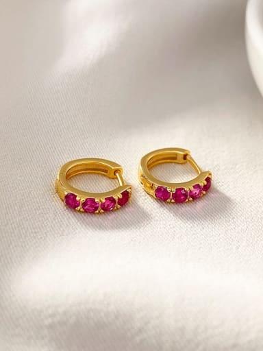 18K gold 925 Sterling Silver Rhinestone Geometric Vintage Huggie Earring