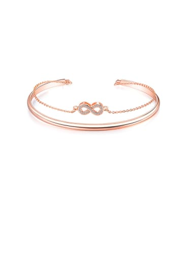 Copper Cubic Zirconia White Number Minimalist Bangles