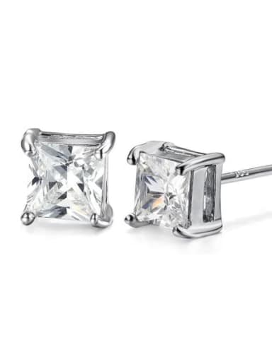 015 White Diamond Alloy Cubic Zirconia Geometric Minimalist Stud Earring