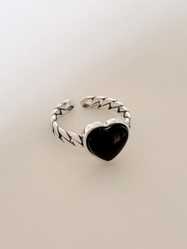 925 Sterling Silver Carnelian Heart Vintage Band Ring
