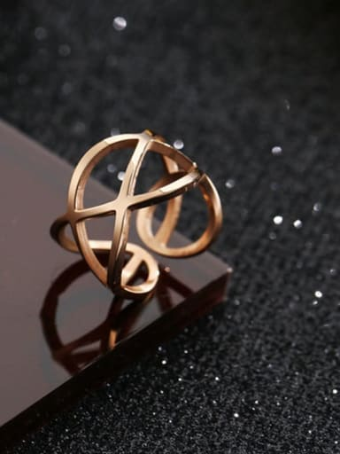 Titanium Steel Hollow Geometric Minimalist Stackable Ring
