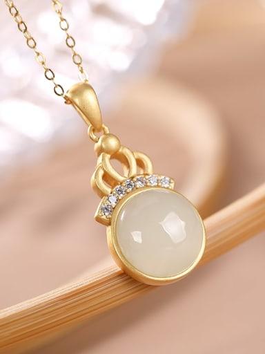 White jade 925 Sterling Silver Carnelian Geometric Vintage Necklace