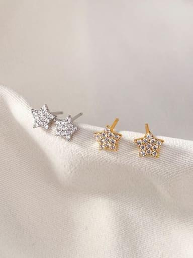 White zirconium 925 Sterling Silver Rhinestone Star Minimalist Stud Earring