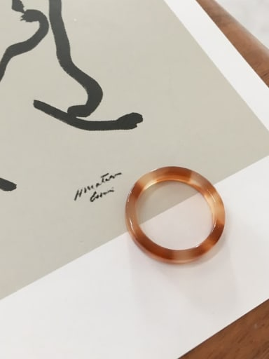 Coffee color, Cellulose Acetate Geometric Minimalist  men and women Melange ring