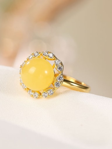 925 Sterling Silver Amber Flower Cute Band Ring