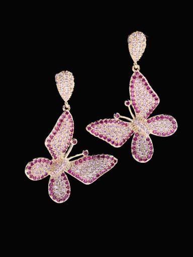 Brass Cubic Zirconia Butterfly Vintage Cluster Earring