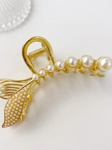 Round pearl fish tail 10cm Alloy Imitation Pearl Minimalist Fish  Tail Jaw Hair Claw
