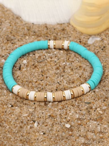 QT B200162B Stainless steel Multi Color Polymer Clay Geometric Bohemia Stretch Bracelet