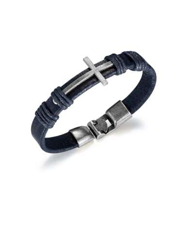 1394 steel color Brass Leather Cross Minimalist Woven Bracelet