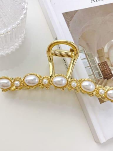 Slotted Pearl 11.7cm Alloy Imitation Pearl Minimalist Flower  Jaw Hair Claw