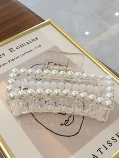 Transparent color 10.5cm Cellulose Acetate Trend Geometric Imitation Pearl Jaw Hair Claw