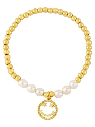 D Brass Imitation Pearl Smiley Vintage Beaded Bracelet