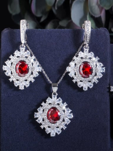 Red Size 6 three piece set Copper Cubic Zirconia Luxury Geometric Earring Ring and Necklace Set