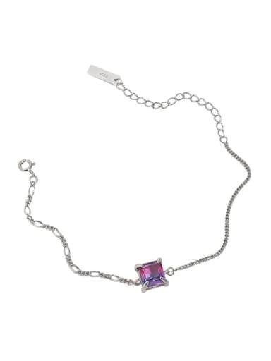White gold [purple blue stone] 925 Sterling Silver Glass Stone Geometric Vintage Link Bracelet