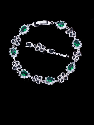 green Brass Cubic Zirconia Flower Luxury Bracelet
