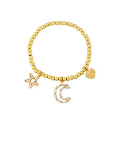 Brass Cubic Zirconia Star Vintage Beaded Bracelet