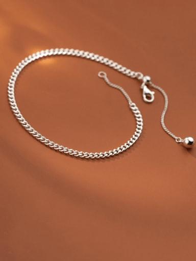 925 Sterling Silver Irregular Chain Vintage  Anklet