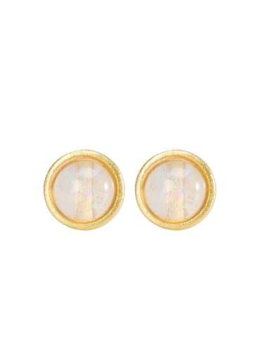 925 Sterling Silver Opal Round Minimalist Stud Earring