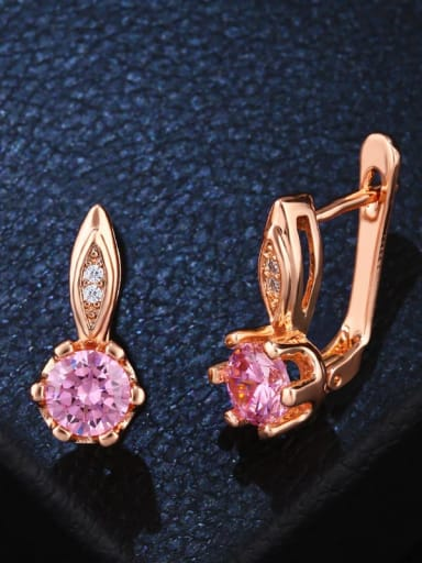 Pink Alloy Glass Stone Geometric Dainty Stud Earring
