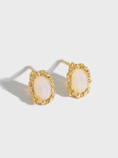 925 Sterling Silver Opal Oval Dainty Stud Earring
