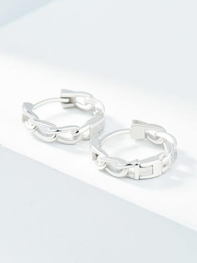 Platinum 925 Sterling Silver Geometric Minimalist Huggie Earring
