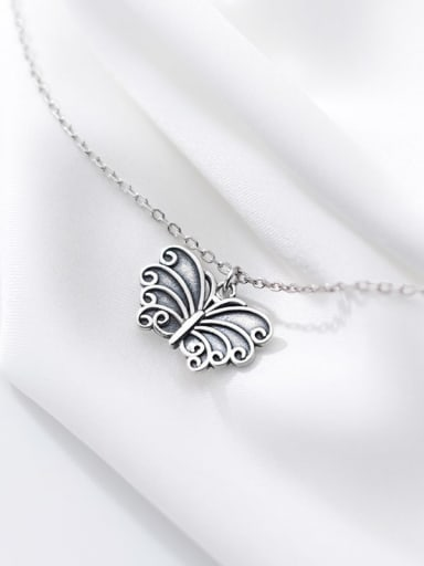 custom 925 Sterling Silver Butterfly Vintage Pendant  Necklace