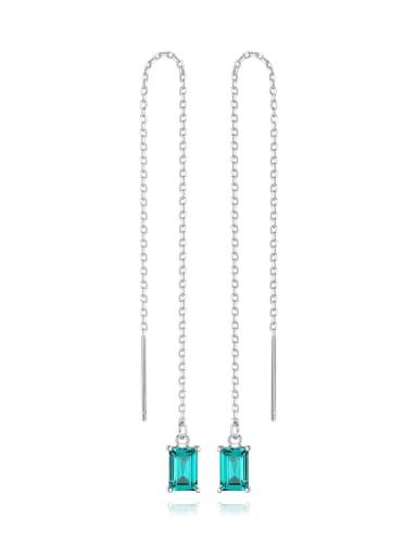 925 Sterling Silver Cubic Zirconia Geometric Minimalist Threader Earring