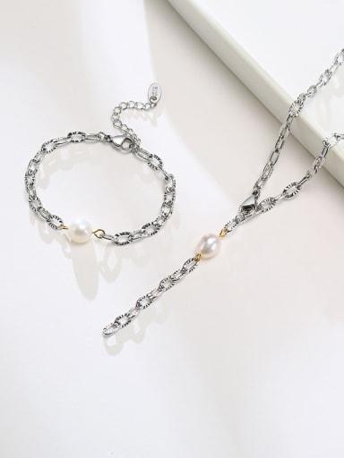 Titanium Steel Imitation Pearl Minimalist Tassel Necklace