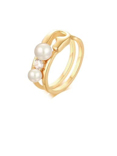 Copper Imitation Pearl White Irregular Minimalist Band Ring