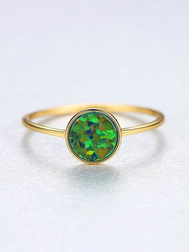 Green 22D05 925 Sterling Silver Round Minimalist Band Ring