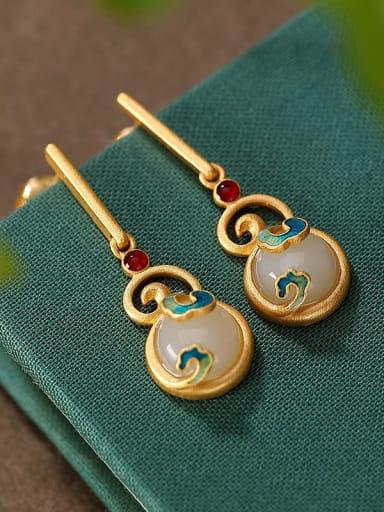 Earrings (pair) 925 Sterling Silver Jade Enamel Vintage Geometric  Earring and Necklace Set
