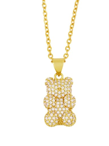 B Brass Rhinestone Cute Bear  Pendant  Necklace