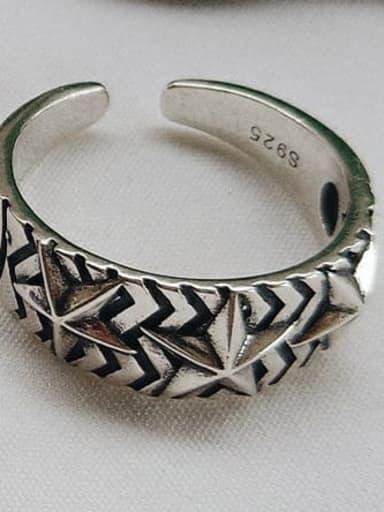 J 473 925 Sterling Silver Star Vintage Signet Ring