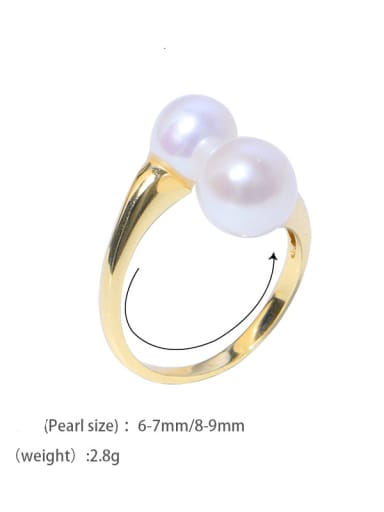 Brass Freshwater Pearl Geometric Vintage Band Ring