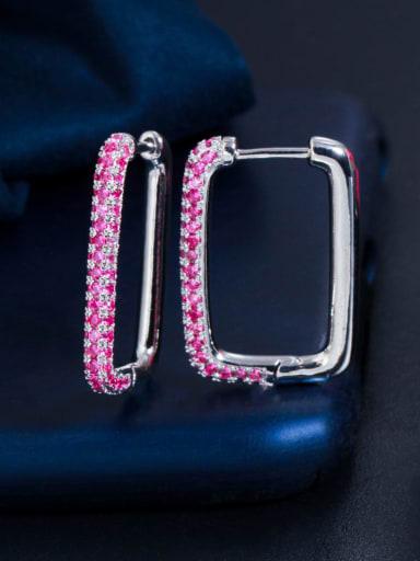 Platinum red zirconium Brass Cubic Zirconia Geometric Luxury Huggie Earring